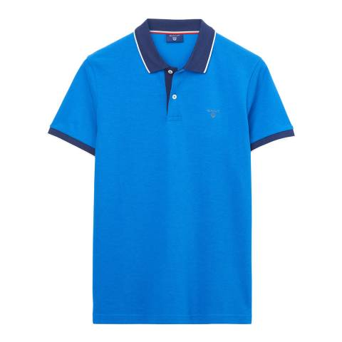 Gant Blue Tech Prep Pique Polo Top