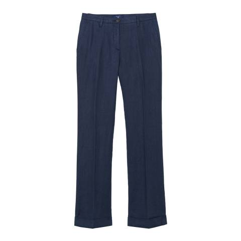 Gant Blue Wide Leg Linen Trousers