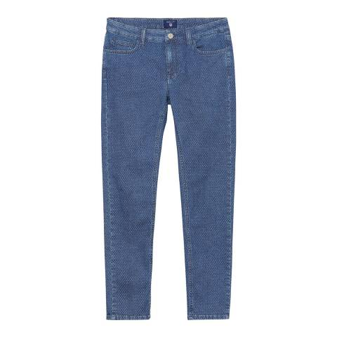 Gant Blue Cropped Slim Stretch Jeans
