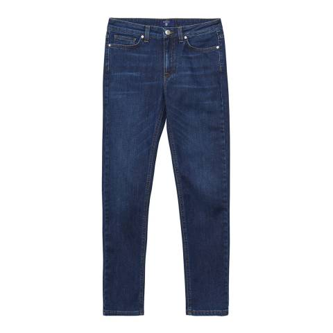 Gant Dark Blue Regular Cropped Denim Stretch Jeans