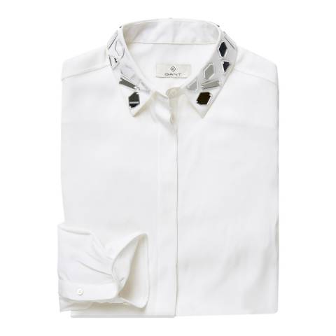 Gant White Beaded Collar Silk Blend Blouse