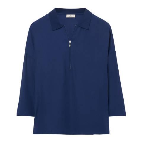 Gant Blue Woven Polo Top