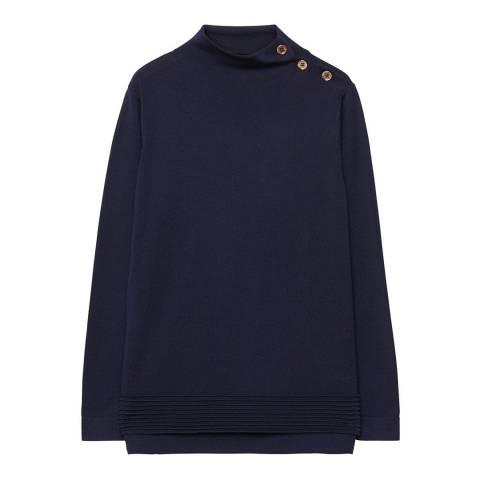 Gant Blue Buttoned Wool High Neck Jumper