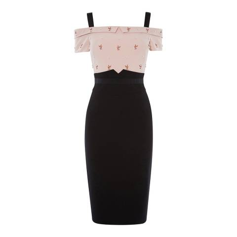 Karen Millen Black/Multi Off Shoulder Midi Dress