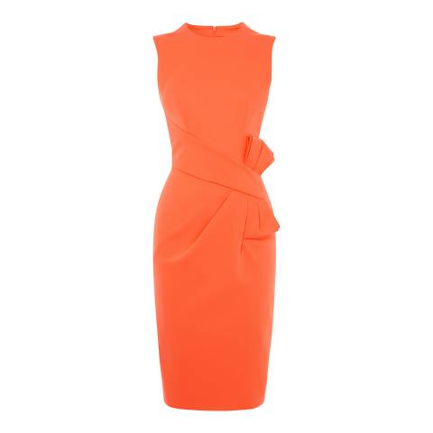 Karen Millen Coral Bow Waist Midi Dress