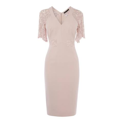 Karen Millen Pale Pink Lace Sleeve Dress