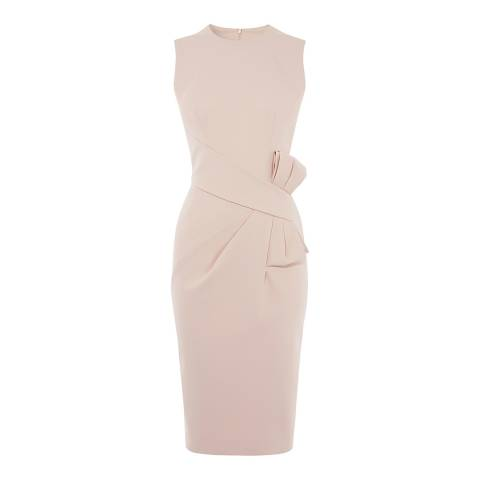 Karen Millen Pale Pink Bow Waist Midi Dress