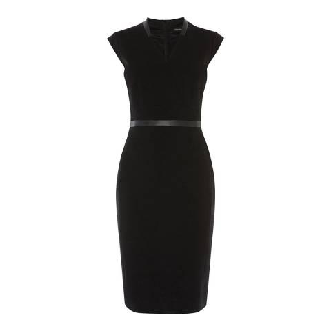 Karen Millen Black Contrast Waist-Belt Dress