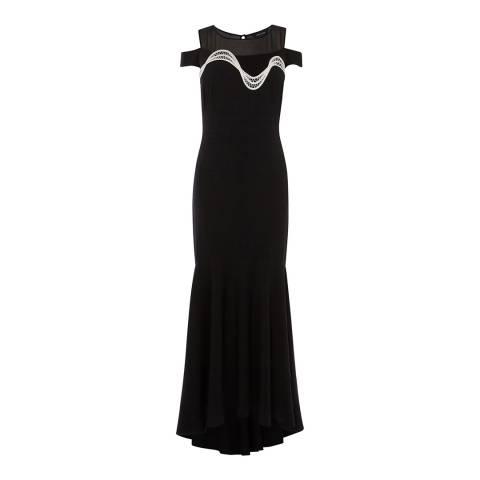 Karen Millen Black & Ivory Fluted Fishtail Maxi Dress