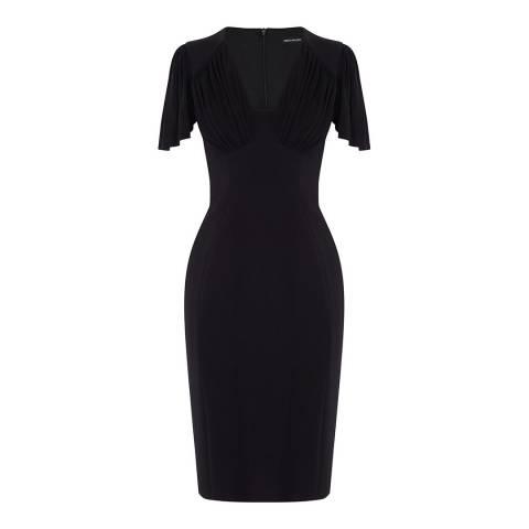 Karen Millen Black Gathered Detail Midi Dress
