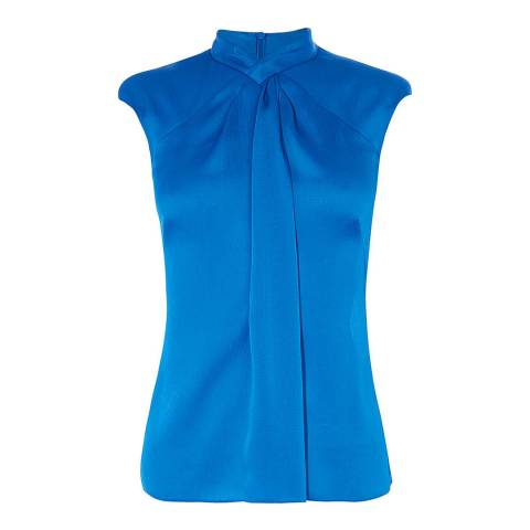 Karen Millen Blue Drape Front Blouse