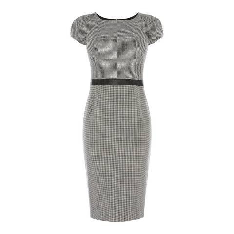 Karen Millen Black/Multi Dogtooth Pencil Dress