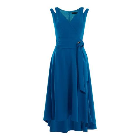 Karen Millen Blue Belted Fluid Midi Dress