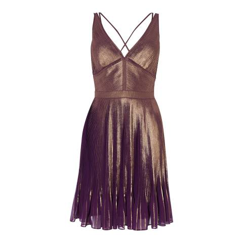 Karen Millen Multicolour Metallic Pleated Dress