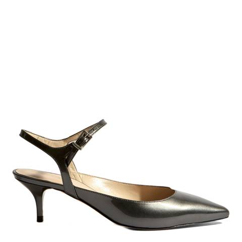 Karen Millen Pewter Strappy Court Kitten Heels