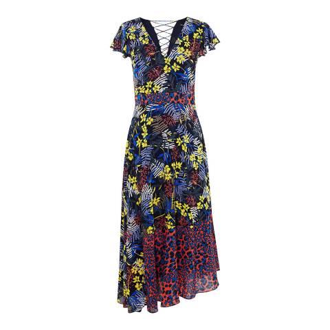 Karen Millen Multicolour Chiffon Midi Dress