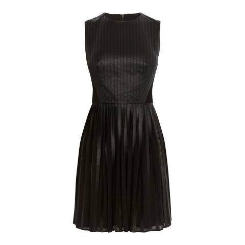 Karen Millen Black Faux Leather Pleated Dress