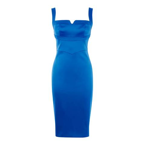 Karen Millen Blue Low Neck Midi Dress