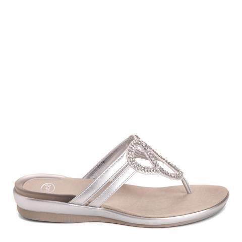 Scholl Metallic Silver Leather Belthil Sandal