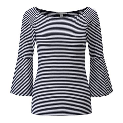 Pure Collection Navy/White  Jersey Flute Sleeve Top