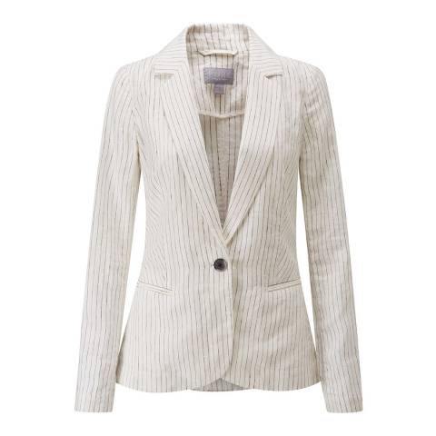 Pure Collection Ivory/ Black Laundered Linen Jacket