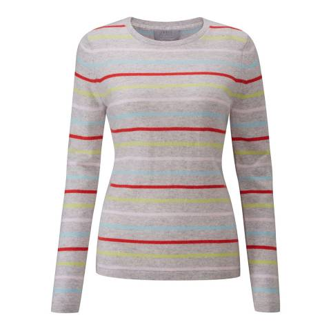 Pure Collection Candy Stripe Cashmere Crew Neck Sweater