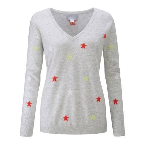 Pure Collection Multi Star Intarsia Cashmere Boyfriend Sweater
