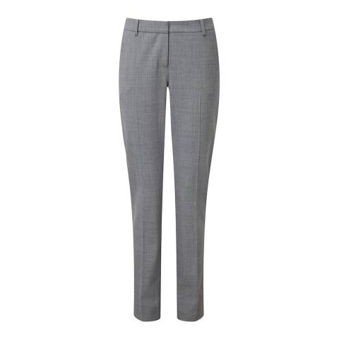 Pure Collection Grey Melange Slim Leg Wool Blend Trousers