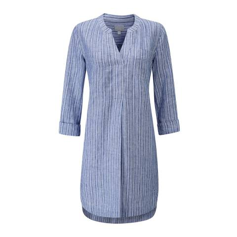 Pure Collection Chambray Blue/Soft White Linen Pocketed Dress