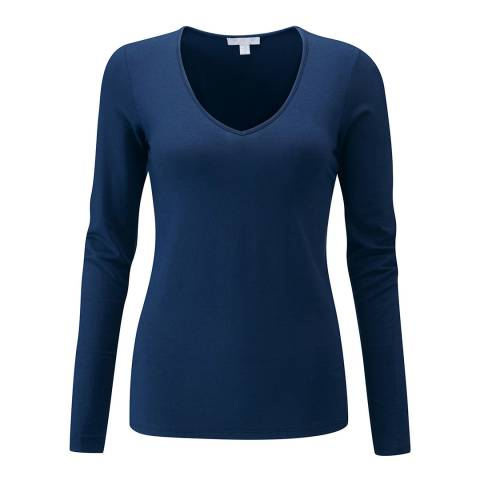 Pure Collection Navy Soft Jersey V Neck Top