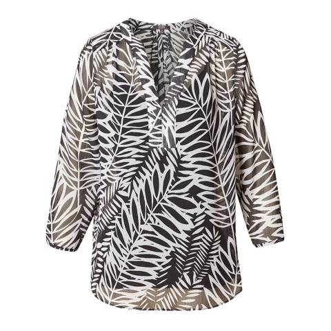 NYDJ Black Twenty Nine Palms Split Neck Blouse