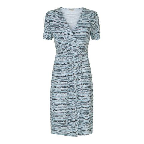 Jaeger Blue Stripe Jersey Wrap Dress