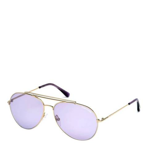 Tom Ford Women's Indiana Purple/Gold Sunglasses 58mm