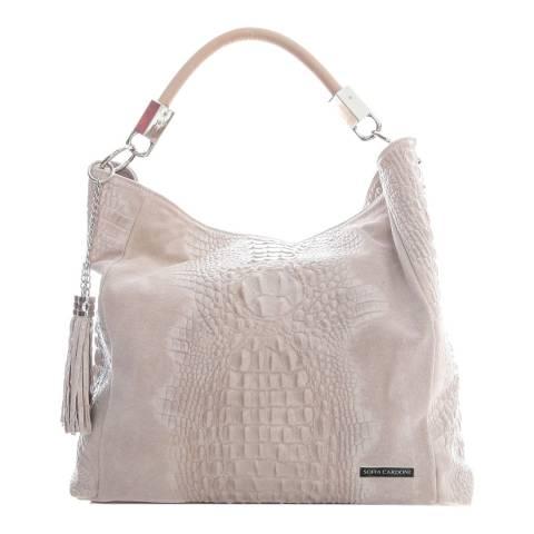 Sofia Cardoni Light Pink Leather Hobo Bag