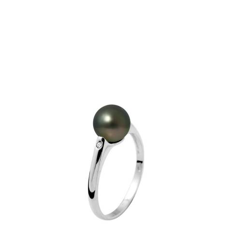 Ateliers Saint Germain Black Freshwater Pearl/Solitaire Diamond Ring 0.02cts