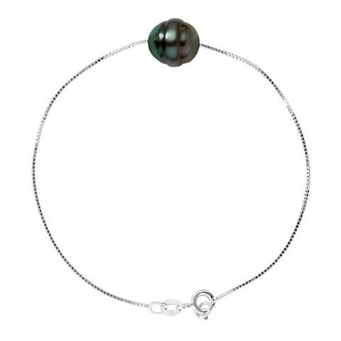 Atelier Pearls Silver Love Link Tahiti Fresh Water Pearl Bracelet 10-11mm