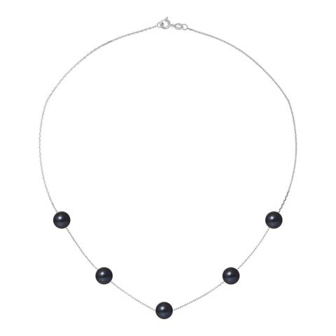 Atelier Pearls Black Tahitian/Silver Plated Fresh Water Pearl Link Necklace