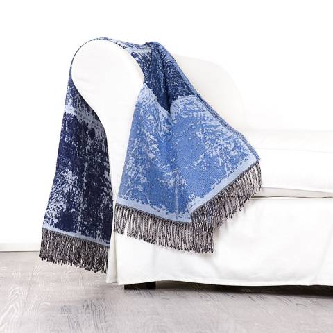 Lanerossi Cheyenne Cotton Blend Throw 130x170cm, Blue