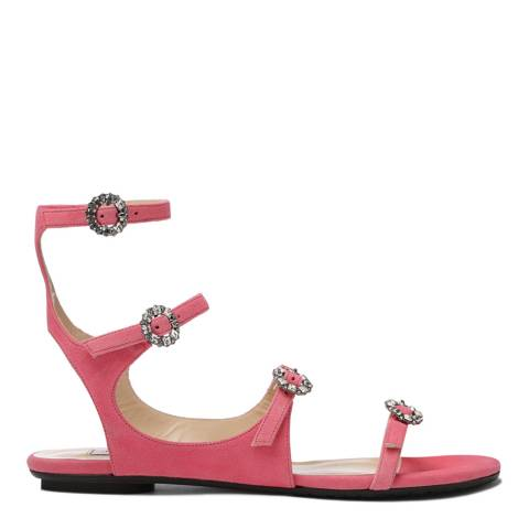 Jimmy Choo Flamingo Pink Suede Naia Sandals with Swarovski Crystal Buckles