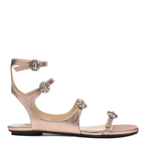 Jimmy Choo Tea Rose Leather Naia Sandals with Swarovski Crystal Buckles