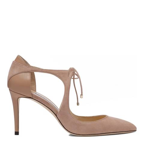 Jimmy Choo Ballet Pink Suede and Nappa Leather  Vanessa 85 Pointy Toe Pumps