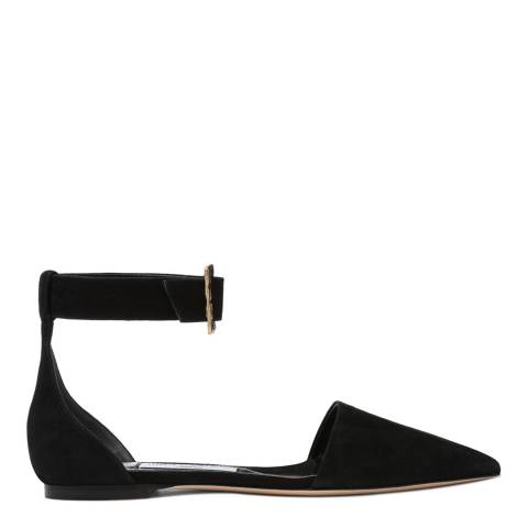 Jimmy Choo Black Suede Halina Pointy Toe Flats with Jewelled Buckle