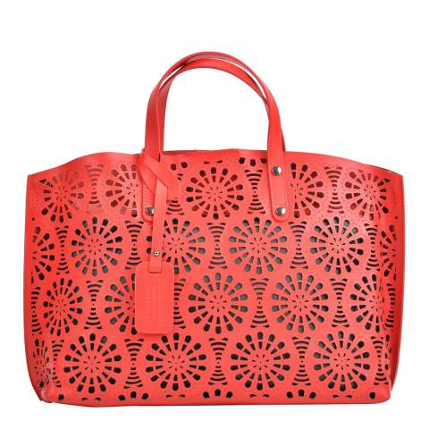 Mangotti Bags Red Leather Top Handle Bag