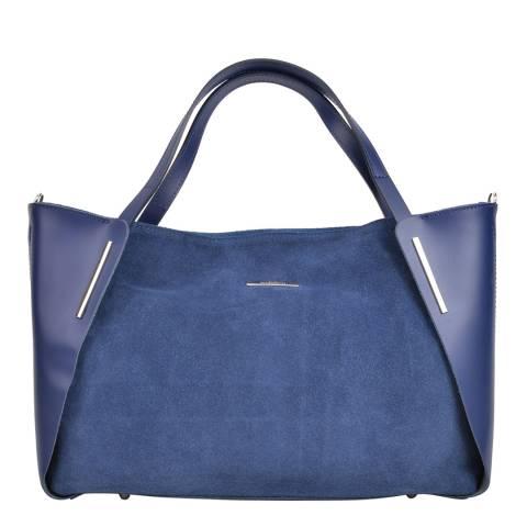 Mangotti Bags Blue Leather Tote Bag