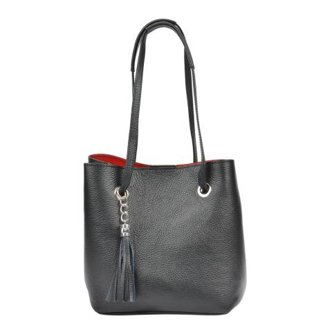 Mangotti Black Leather Shoulder Bag