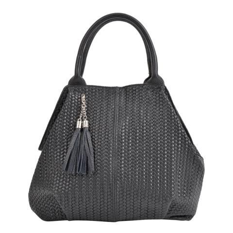 Mangotti Black Leather Hobo Bag