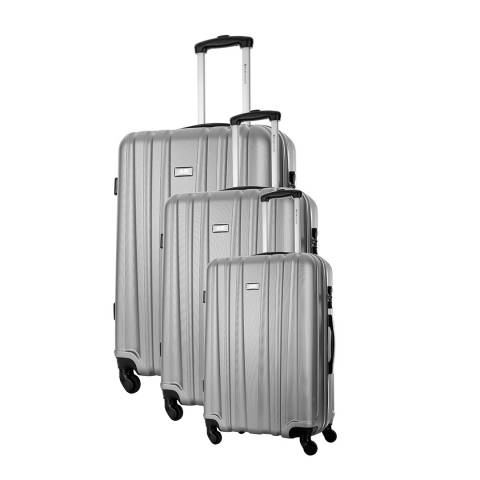 Platinium Silver Akina 4 wheeled set of three suitcases