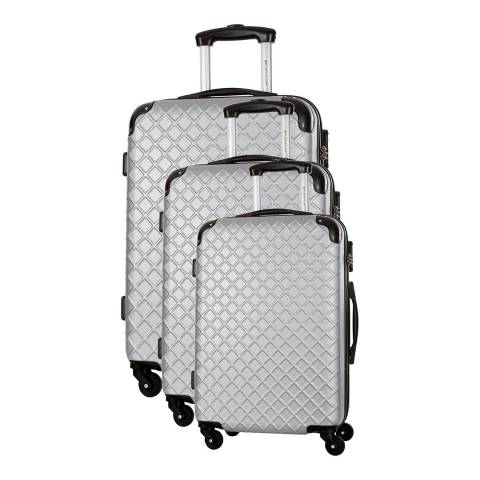 Platinium Silver Sifnos 4 Wheeled Set Of Three Suitcases 46/56/66cm