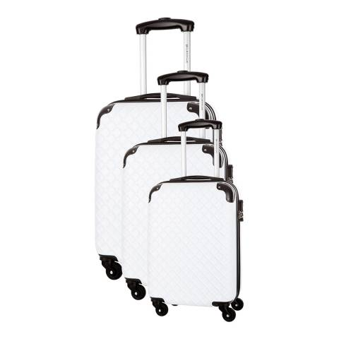 Platinium White Sifnos 4 Wheeled Set Of Three Suitcases 46/56/66cm