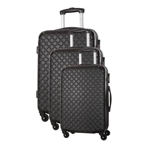 Platinium Black Sifnos 4 Wheeled Set Of Three Suitcases 46/56/66cm